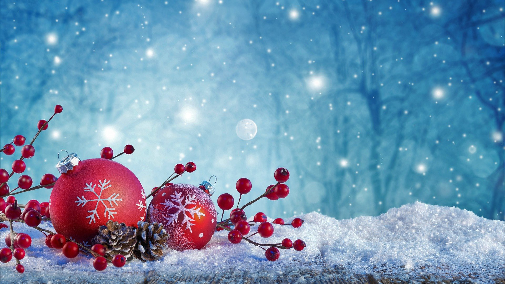 Snowy Christmas scene with red ornaments, pine cones, and red berries shining against a bluish night sky.