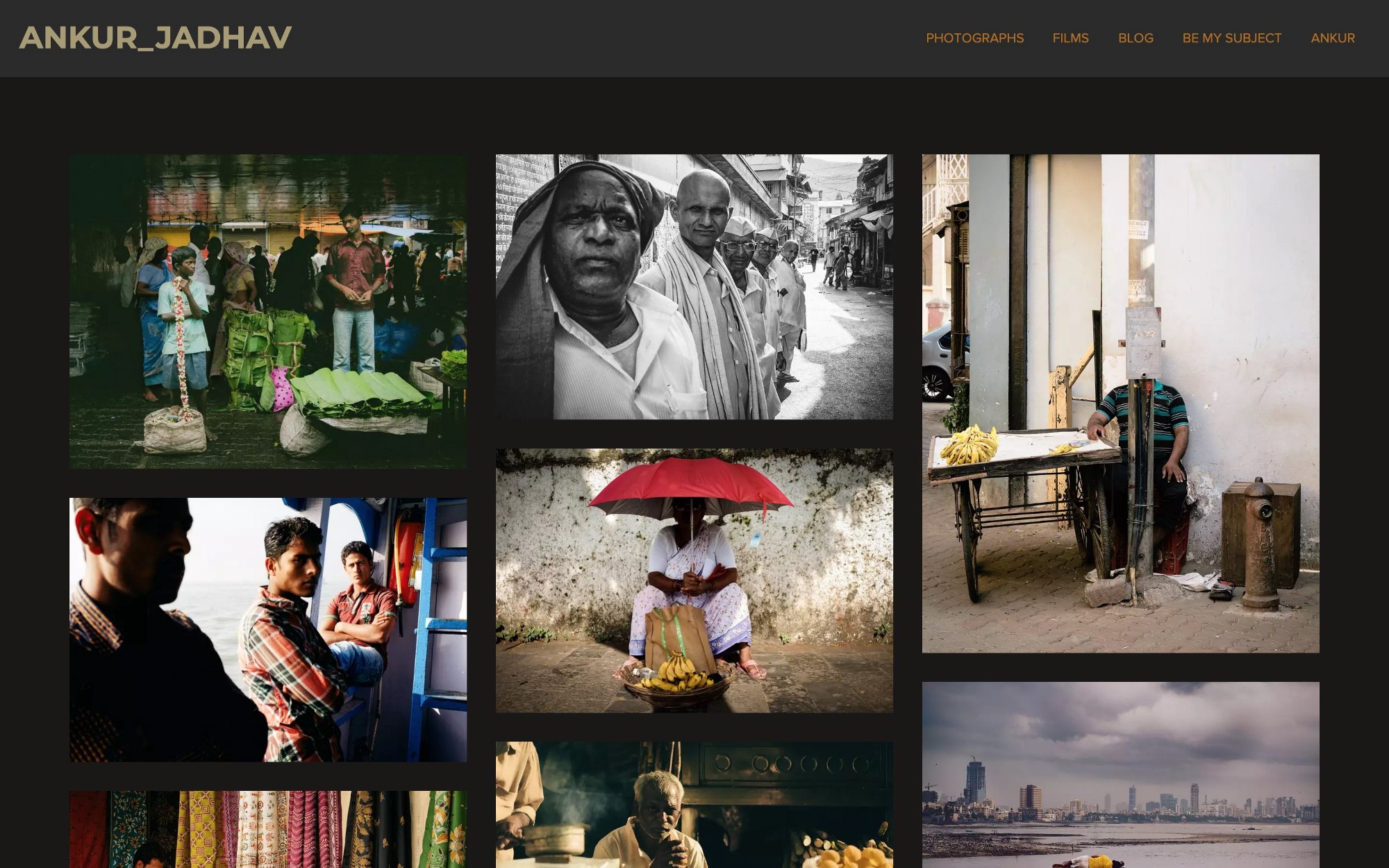 Front page design of the portrait gallery page.