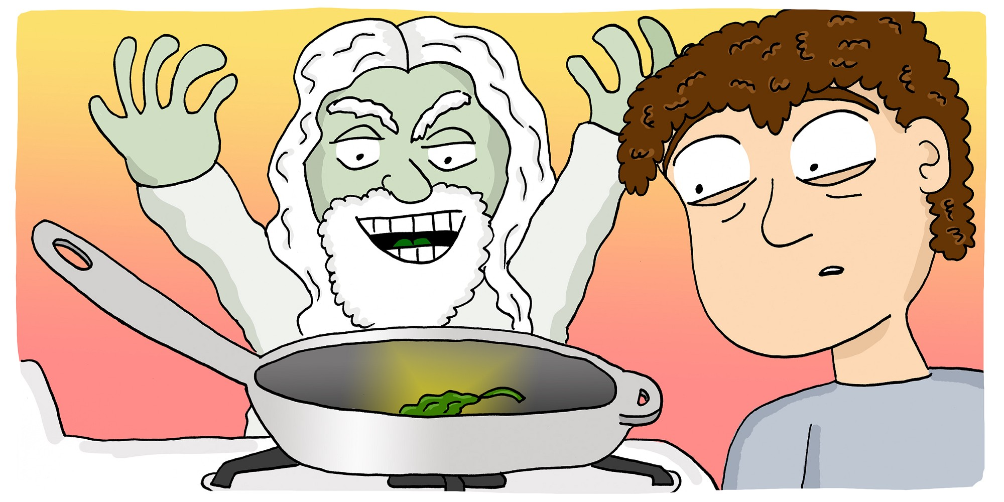 man looks at piece of spinach in a pan as a god looks on smiling