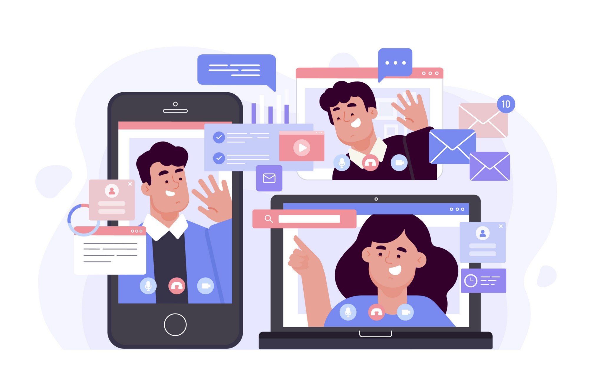 illustration representing people collaborating remotely using different kinds of devices