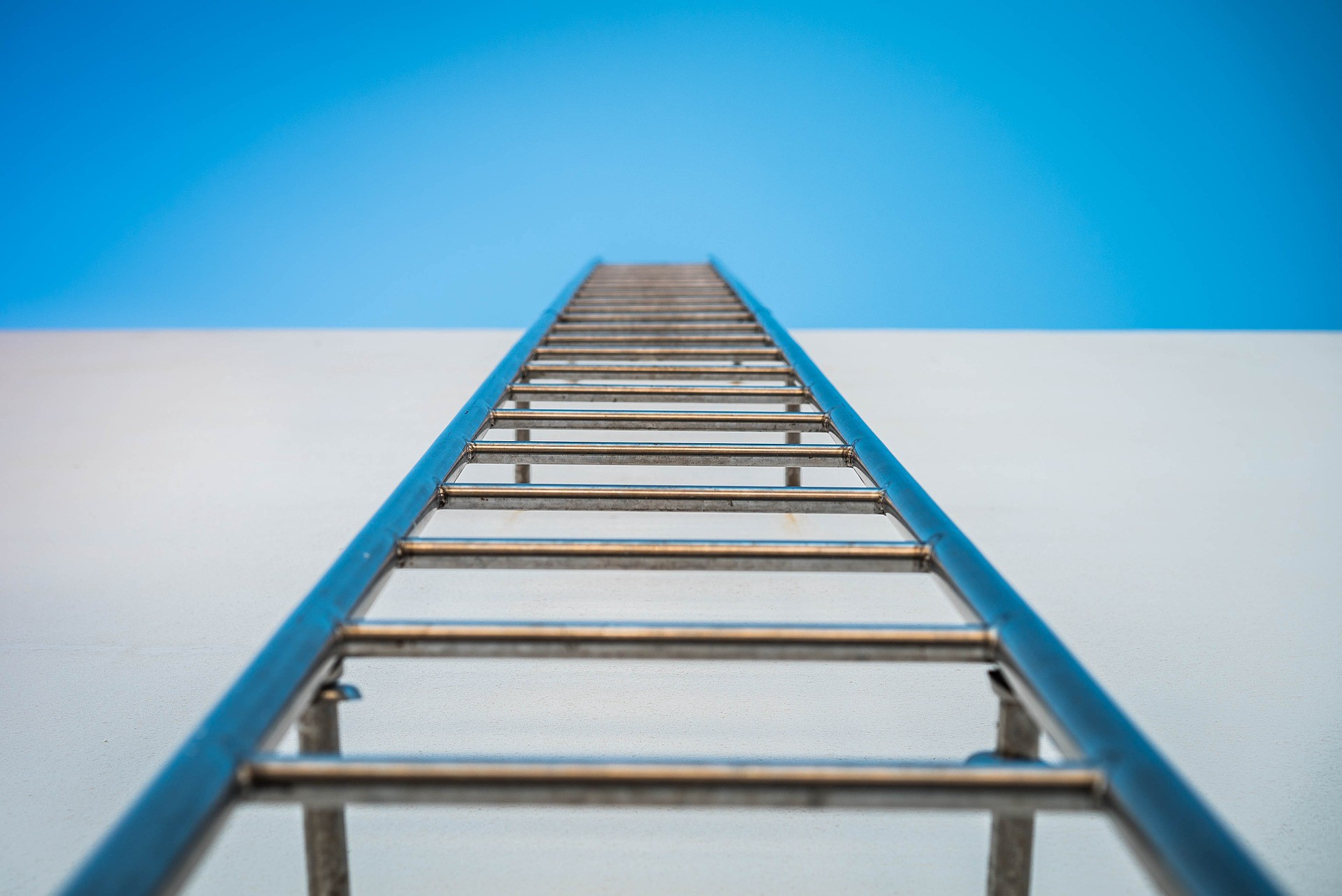 Image of a ladder going up the side of the building as if you are climbing it.