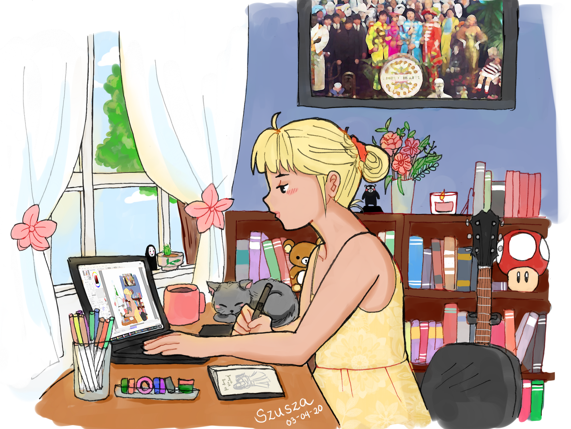 Digital artwork of the writer drawing using her laptop inside her bedroom