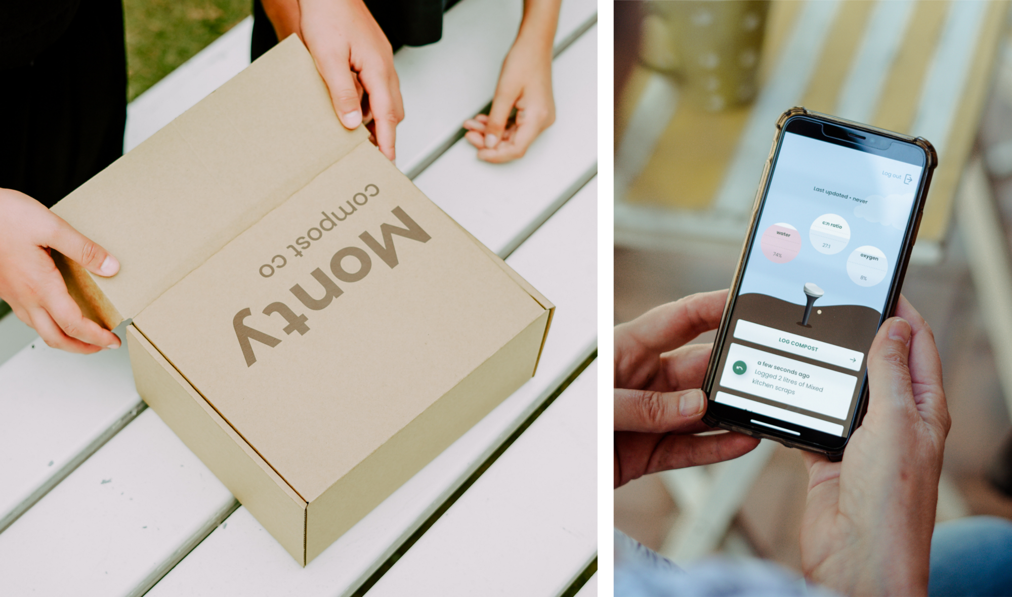 Left image: A closed Monty box with keen hands peeling it open. Right image: Hands holding a phone showing the Monty app, with playful UI showing little stats and notifications.