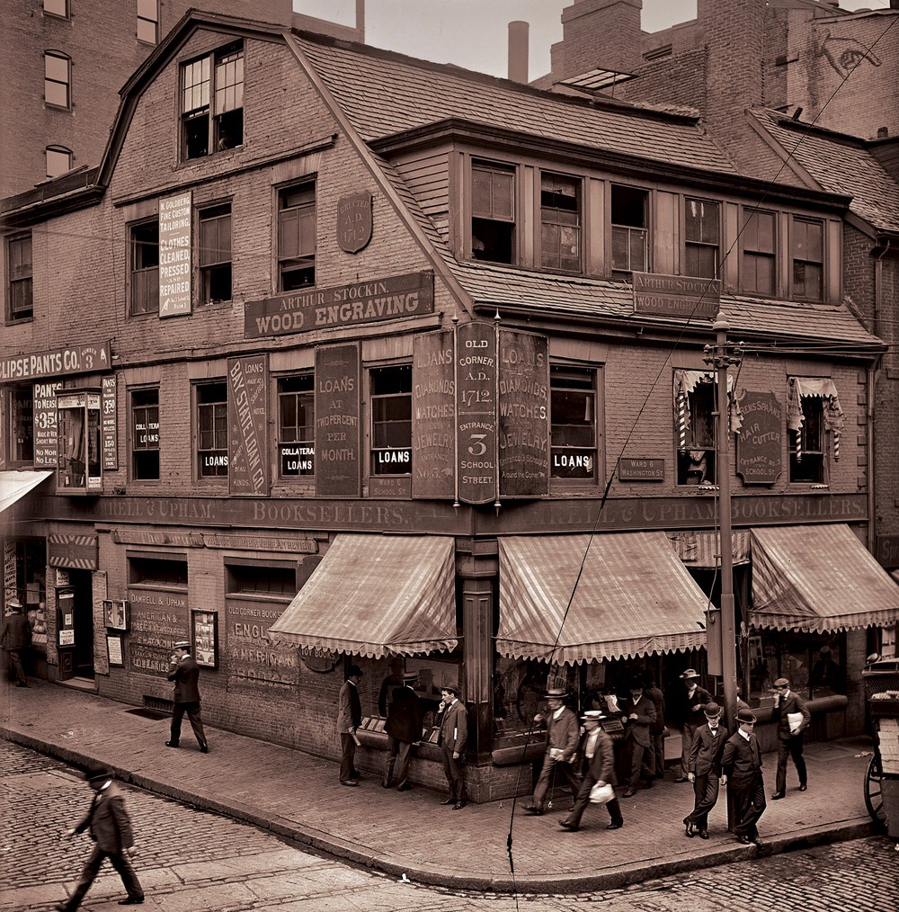 A sepia toned 19th century photograph of the brick retail building at 283 Washington Street in downtown Boston, MA.