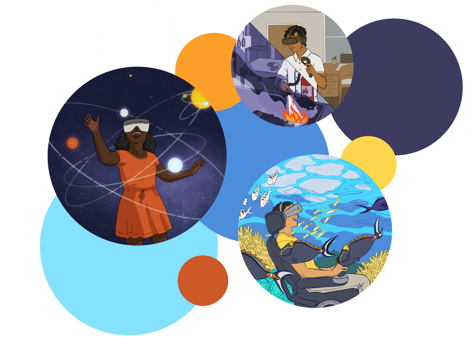 Illustration of young people using virtual reality headsets to cook in kitchen, explore outer space, and explore the ocean