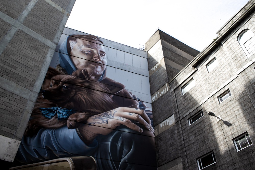 Photo-realist graffiti work by Smug at The Green in Aberdeen