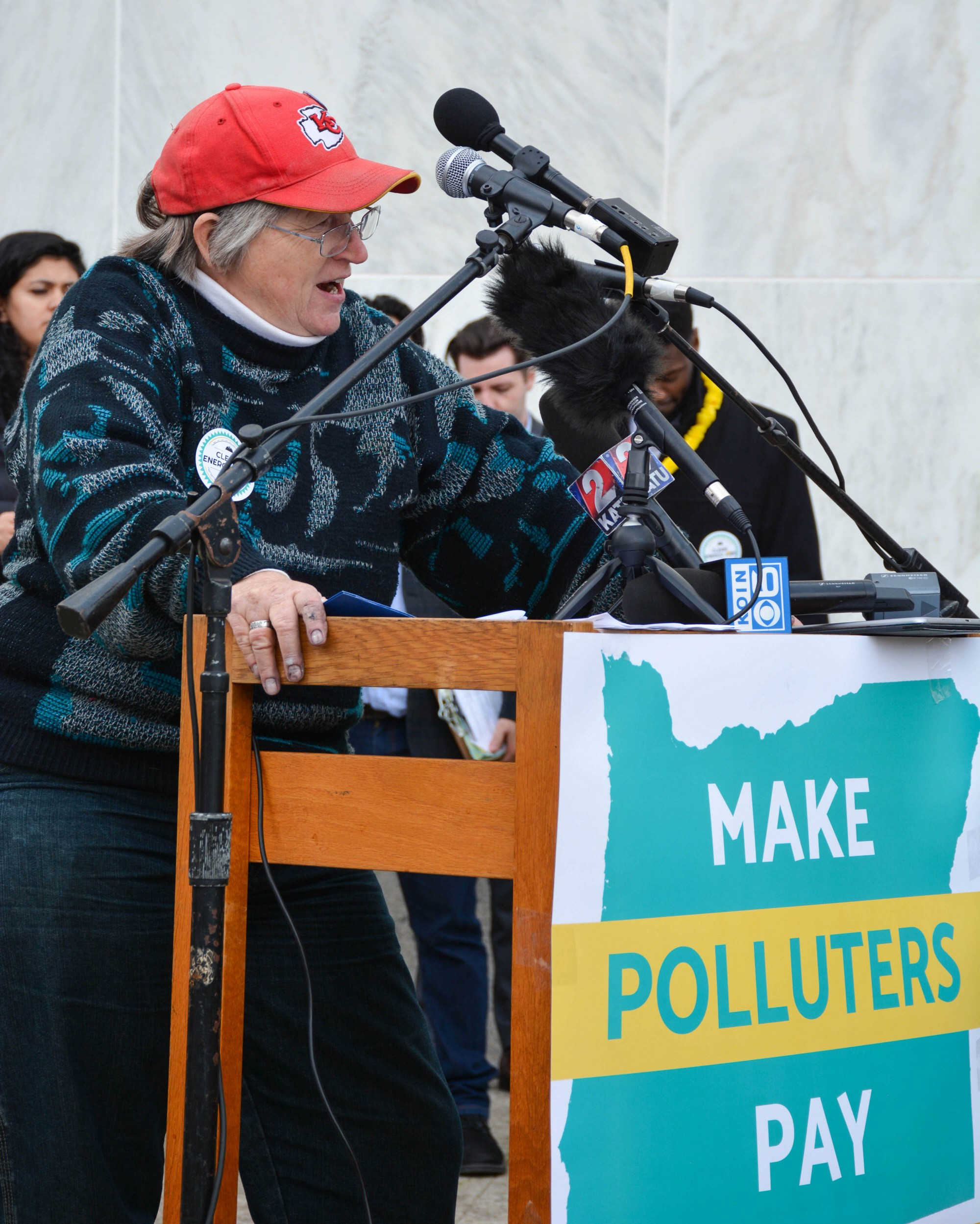 Photo of DPO Chair KC Hanson speaking at the Climate Rally in February 2020