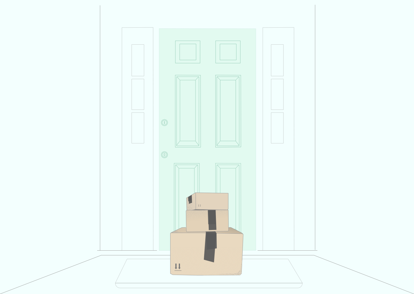 Illustration of boxes delivered to the front door