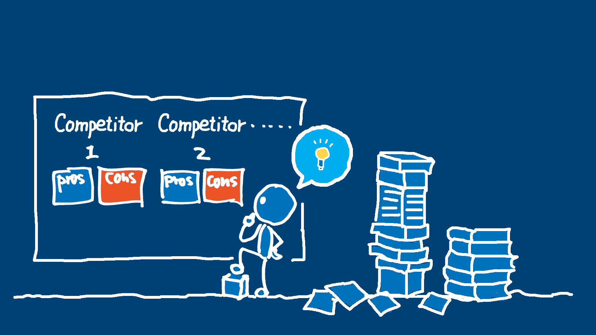 An illustration showing a UX designer working on competitive analysis.