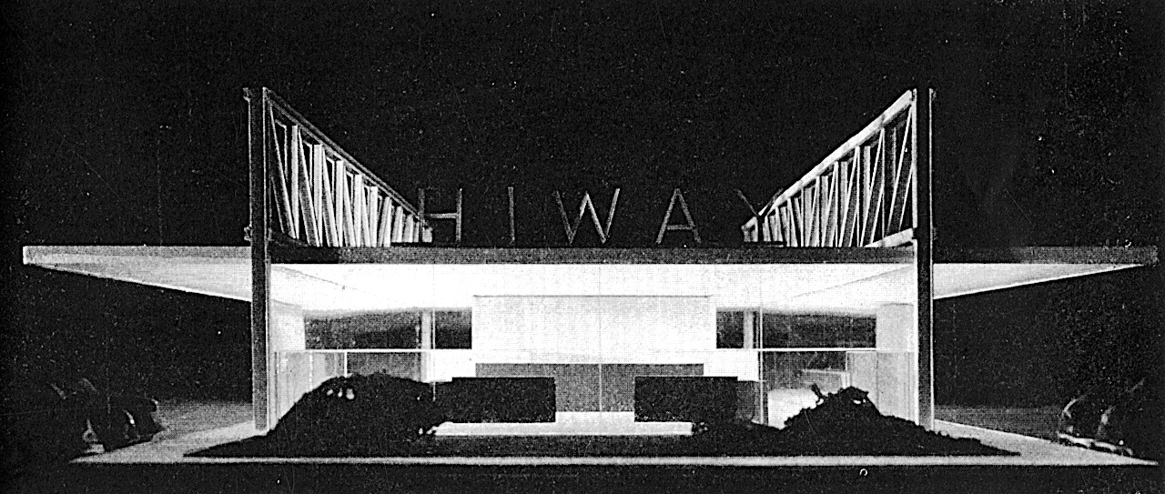 old photograph of model of HI WAY drive in restaurant