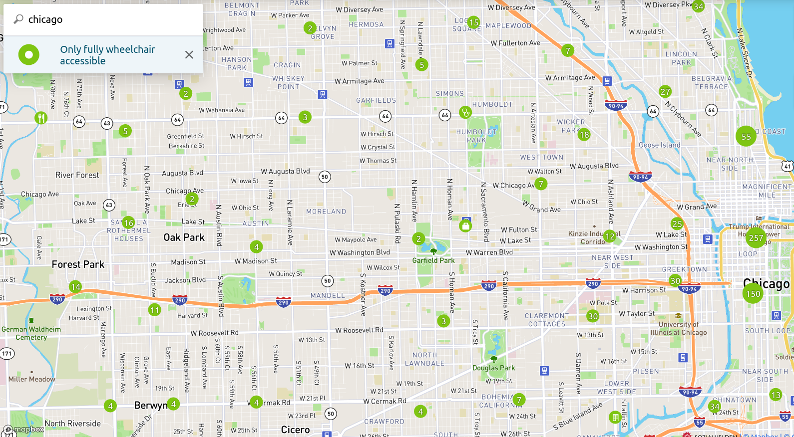 Screenshot of Wheelmap, An OpenStreet Map that shows all the places that are Wheelchair accessible