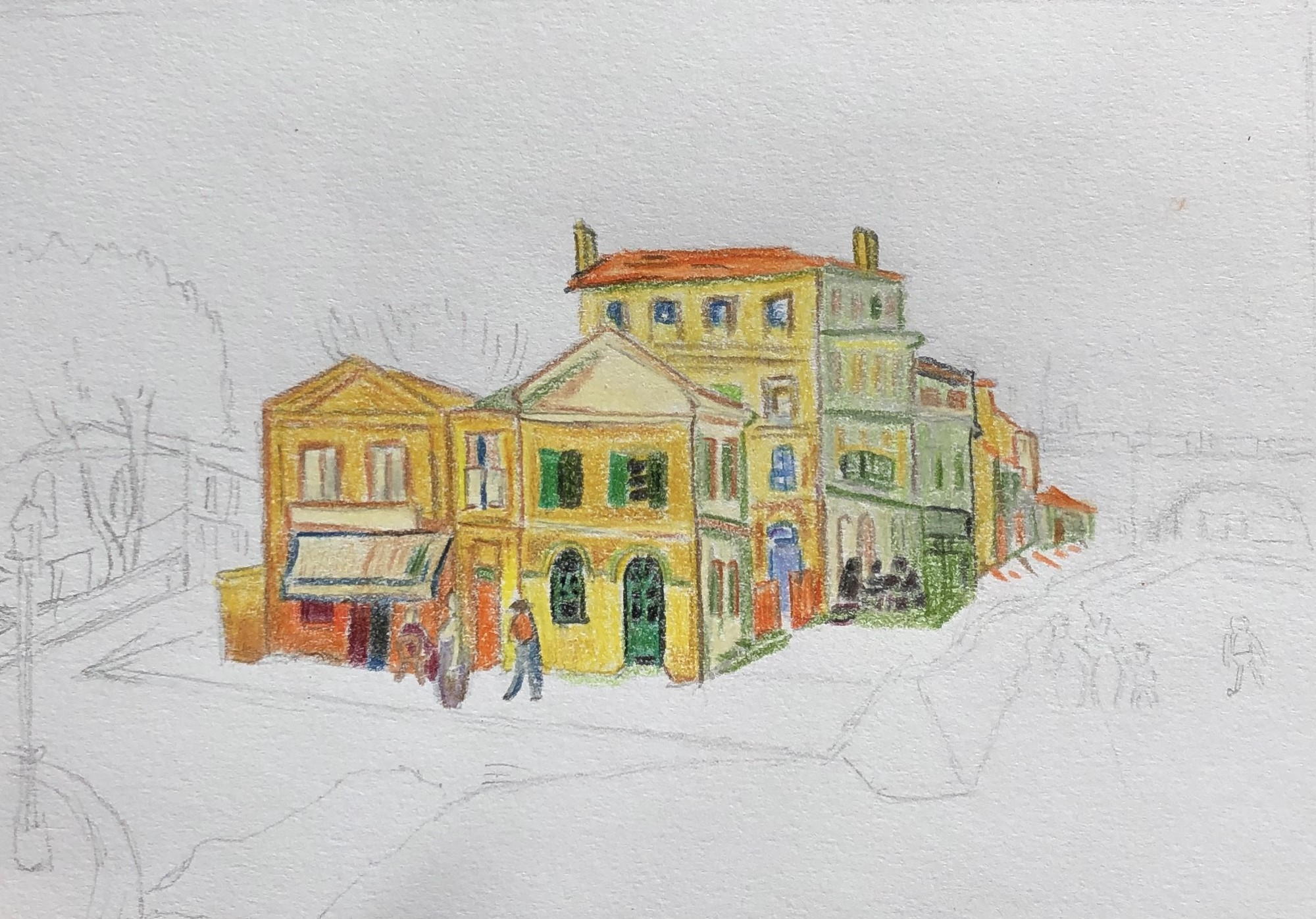 An unfinished drawing of a street corner. Coloured yellow are houses and buildings of different sizes.