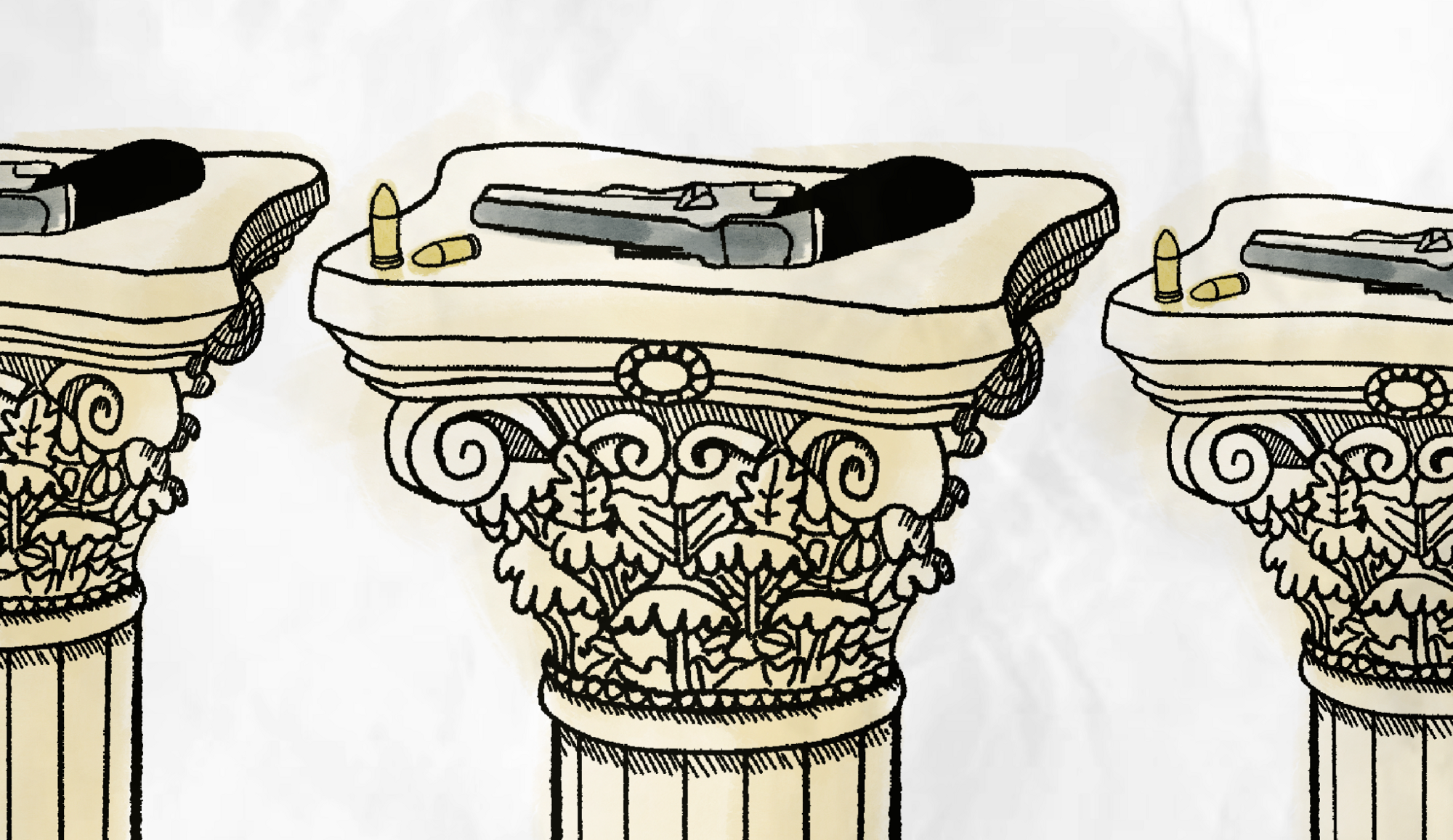 An intricate column with a gun on the top of a column with bullets