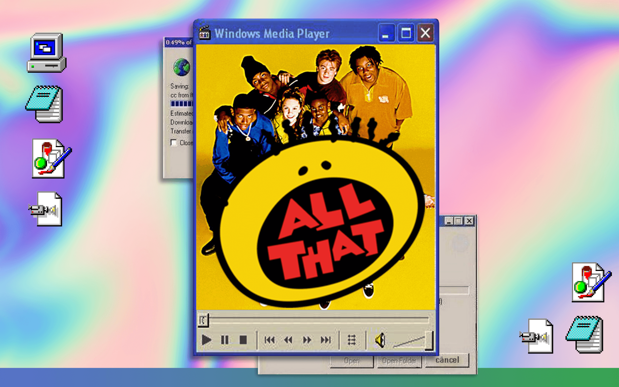 All That cast and logo on a Windows 95 desktop with a rainbow gradient background.