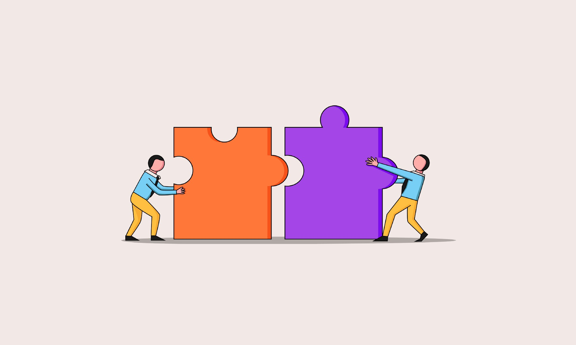 An illustration of 2 characters pushing together two giant puzzle pieces.