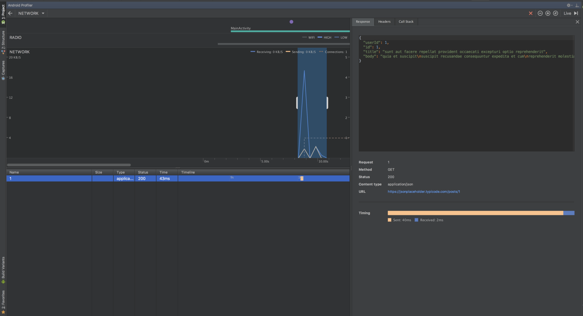 Monitor Network Requests and Responses on Android Studio