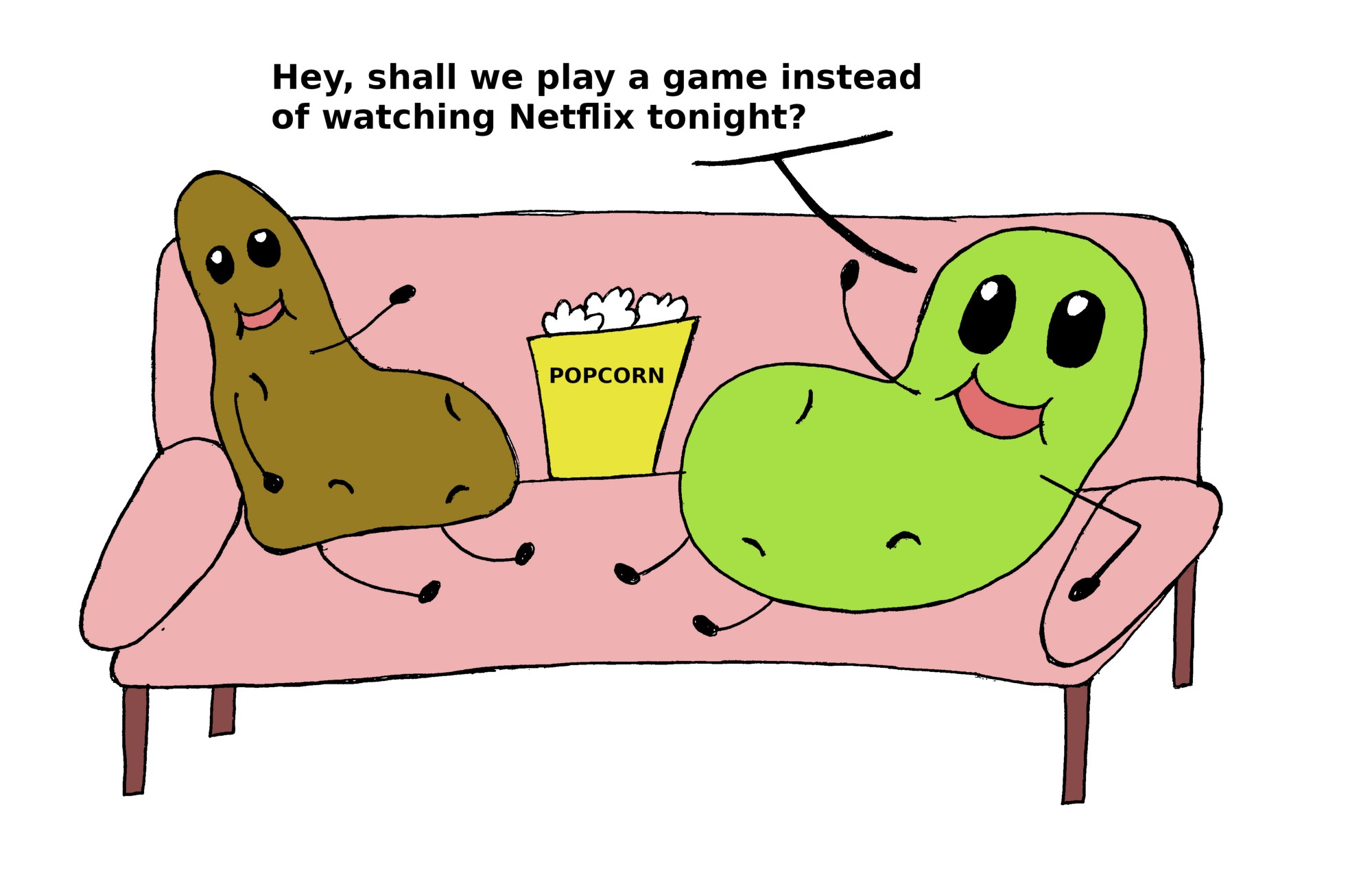 Cartoon of potatoes sitting on a couch together, one suggests playing a game.