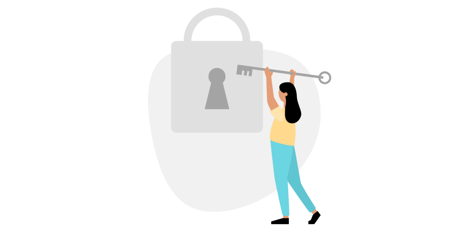 An illustration of a woman opening a lock