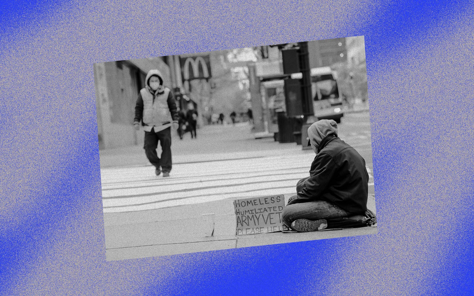 A photo of a homeless person on the street against a blue background with grey spray paint effect.