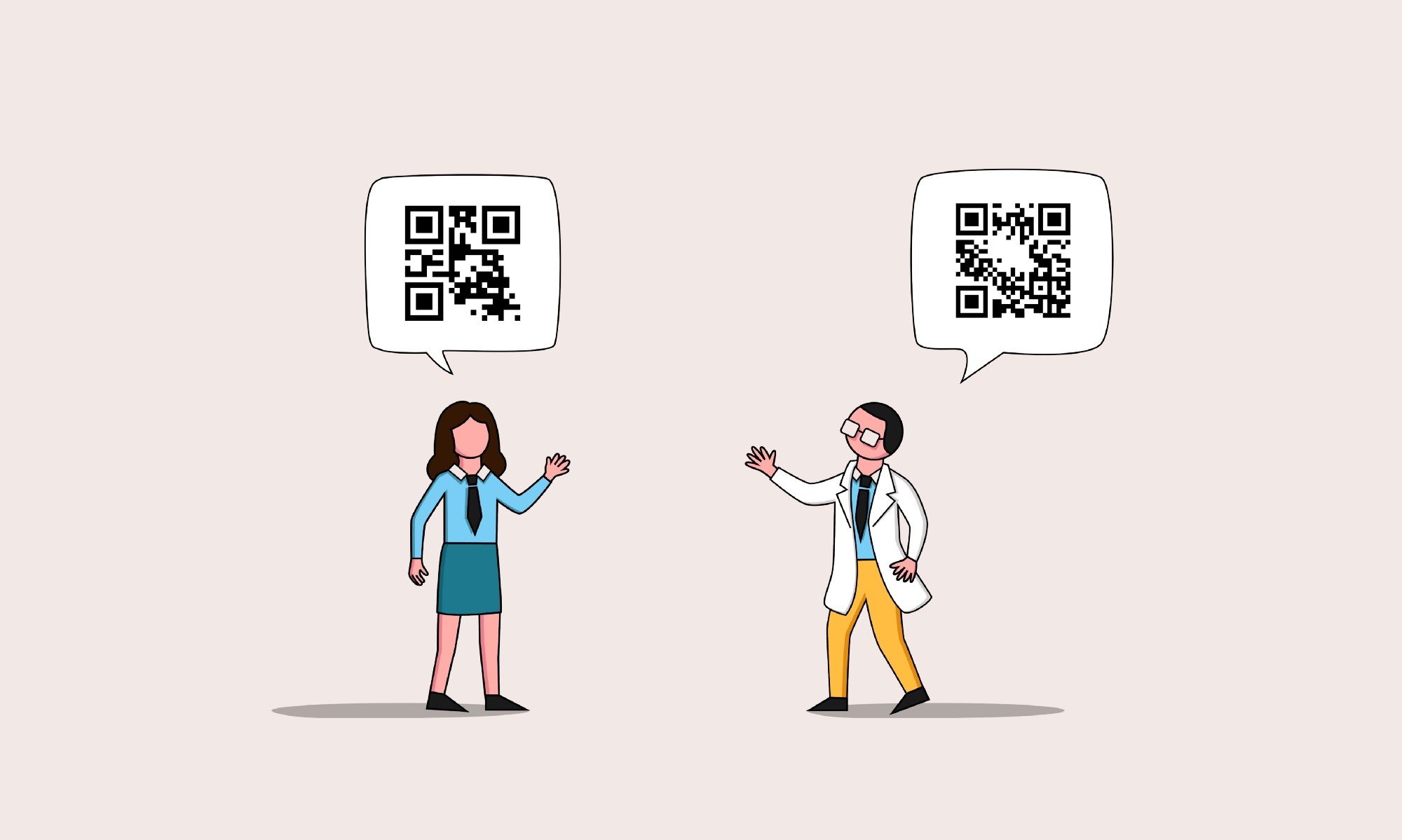 An illustration of two coworkers waving with speech bubbles over their heads. Each speech bubble has a different code.