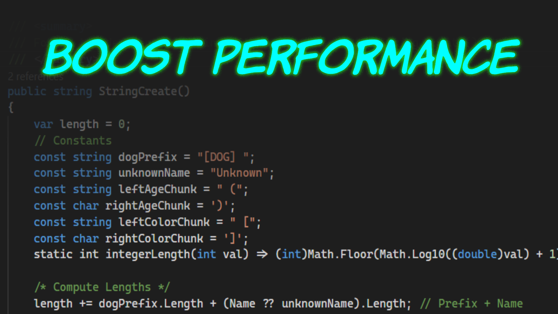 "Header image with the text ""BOOST PERFORMANCE"" and a code sample that fades in from top to bottom."