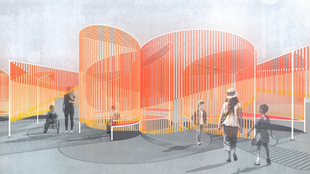 Rendering of people walking and wheeling around and interacting with a large, curving, orange and red outdoor installation.