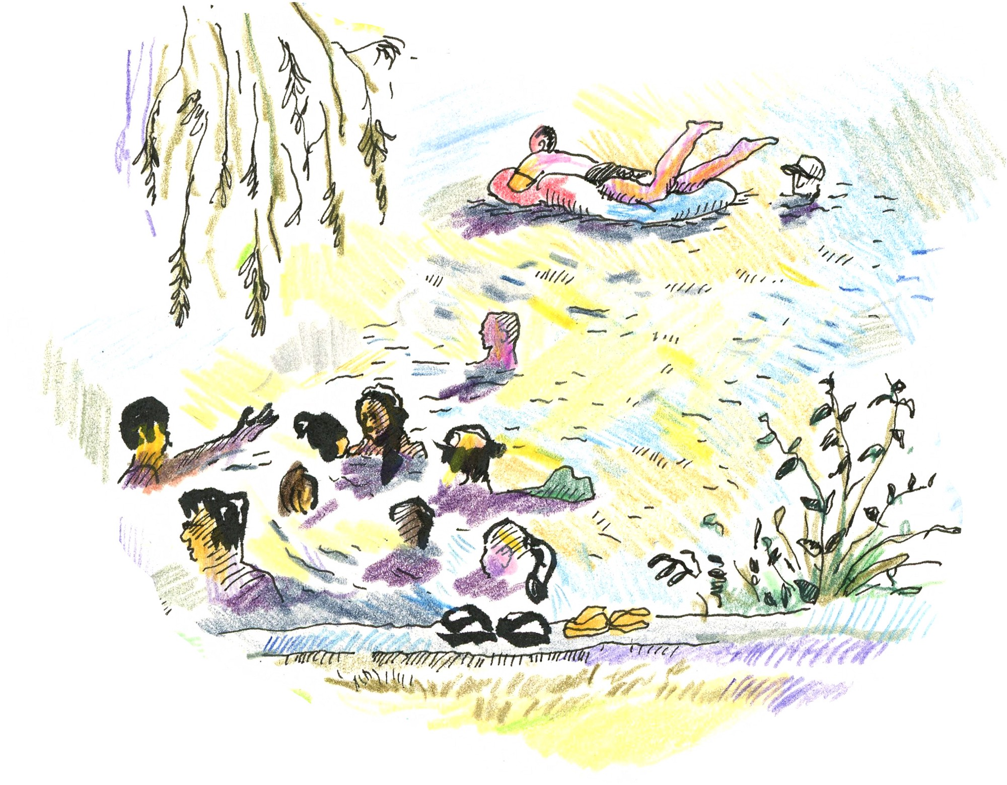 Folks swim along the shore of a pond.
