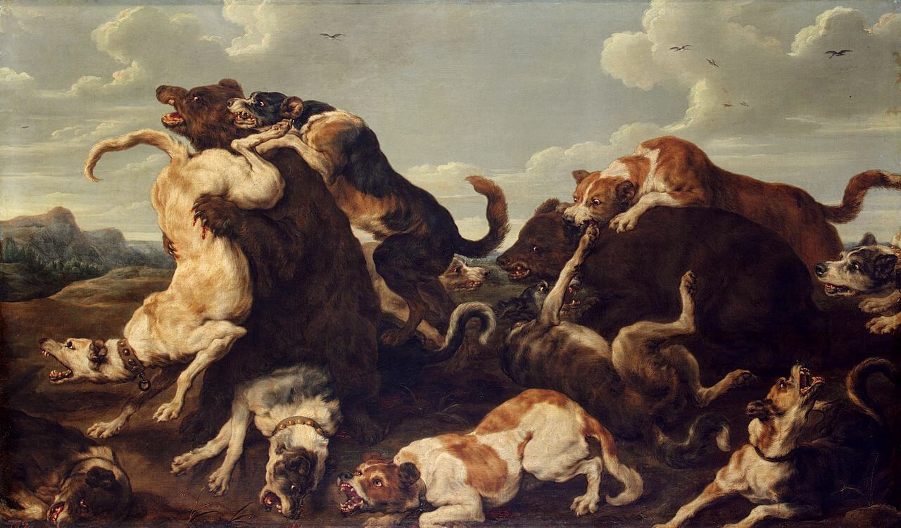 Bear Hunt Paul de Vos painting of dogs hunting bears