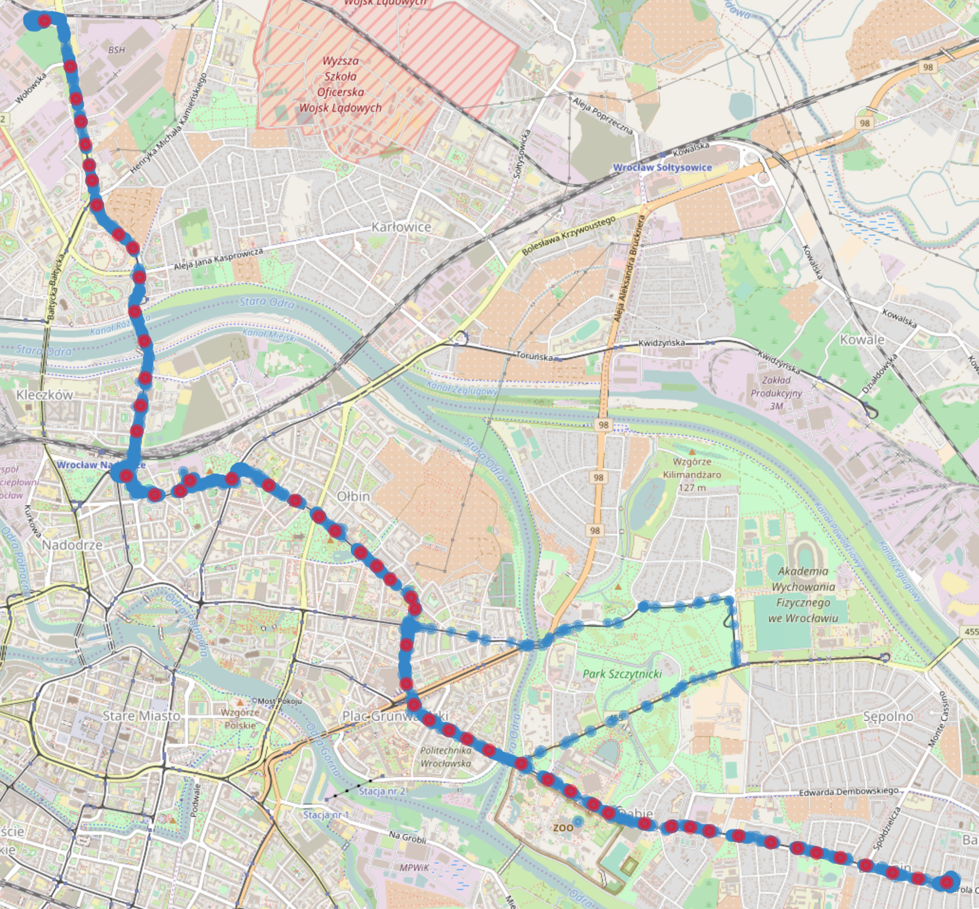 Approximating public transport route from cloud of GPS locations