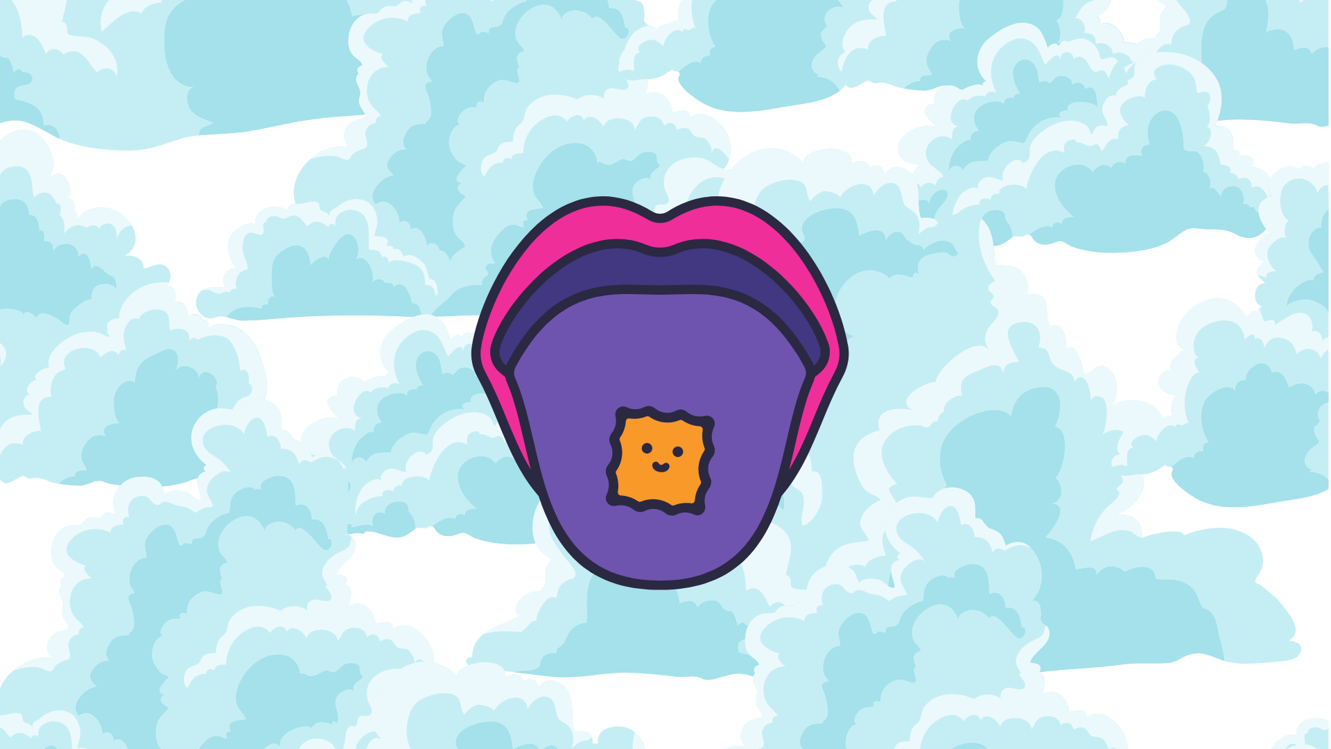 A small yellow carton on a purple tongue and a mouth. The background is sky-blue.