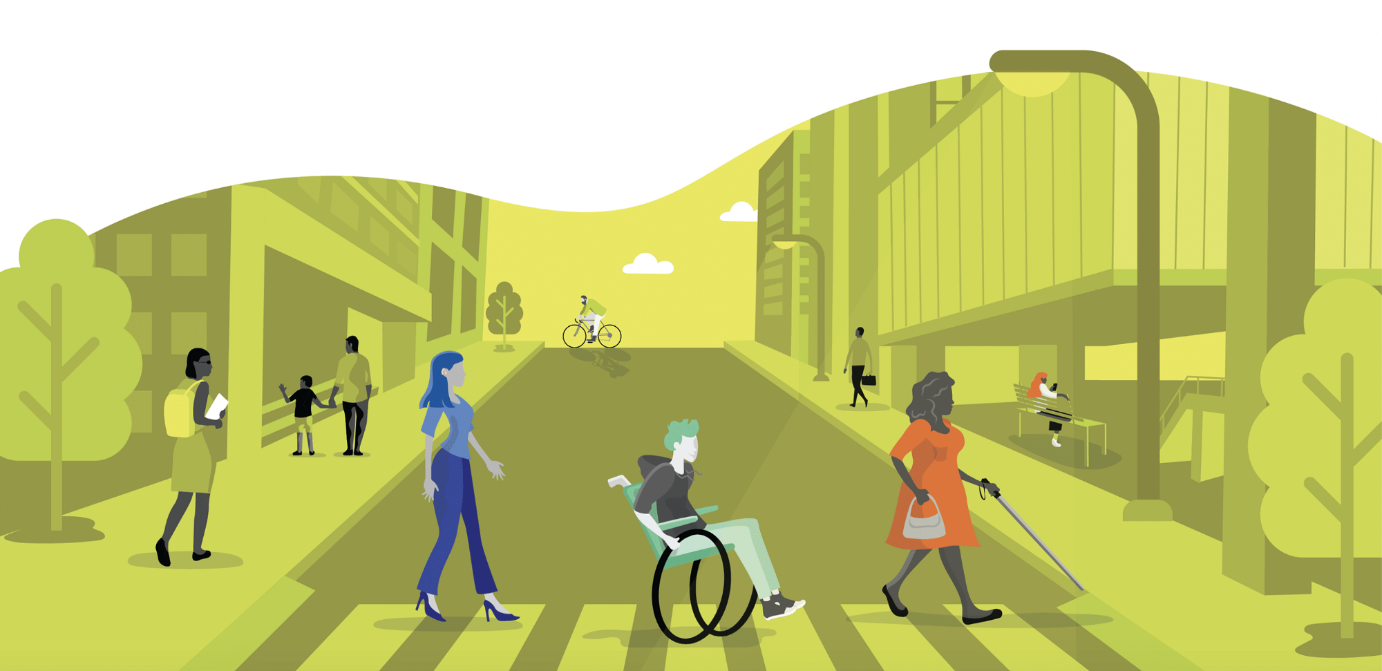 An illustration of people with different mobility abilities navigating in the city
