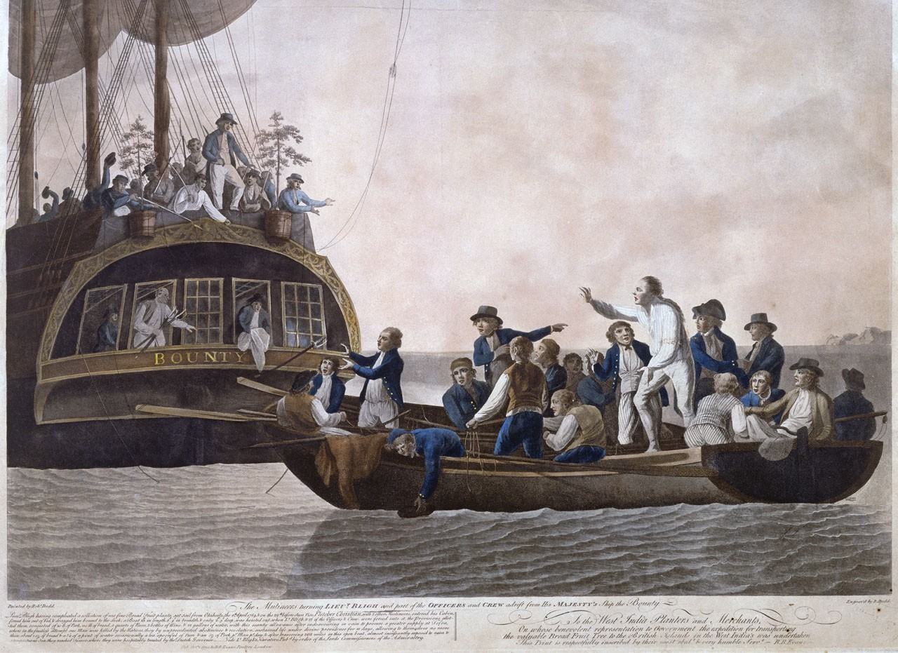 Fletcher Christian and the mutineers sent Lieutenant William Bligh and 18 others adrift; 1790 painting by Robert Dodd.