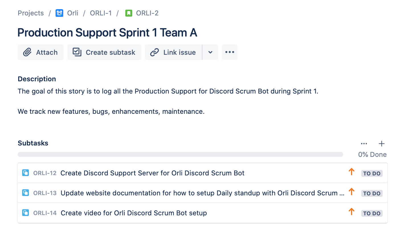 Production Support Backlog for Orli Discord Scrum Bot