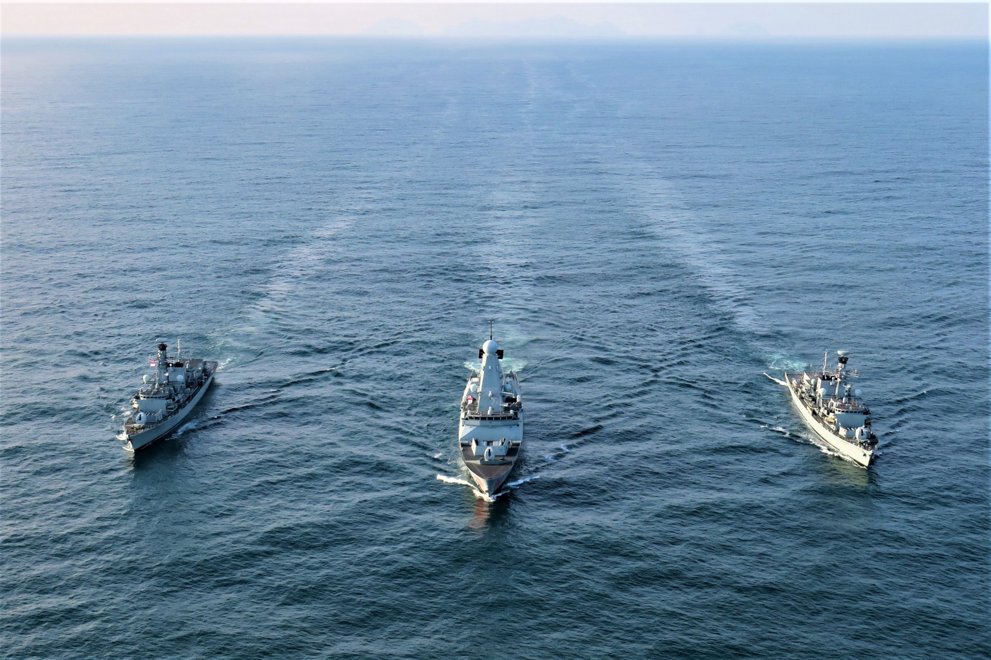 HMS Lancaster (left), HMS Dragon (middle) and HMS Argyll (right), seen here off Scotland's Outer Hebrides and Norway's Arctic coast as part of Exercise Formidable Shield 2021.