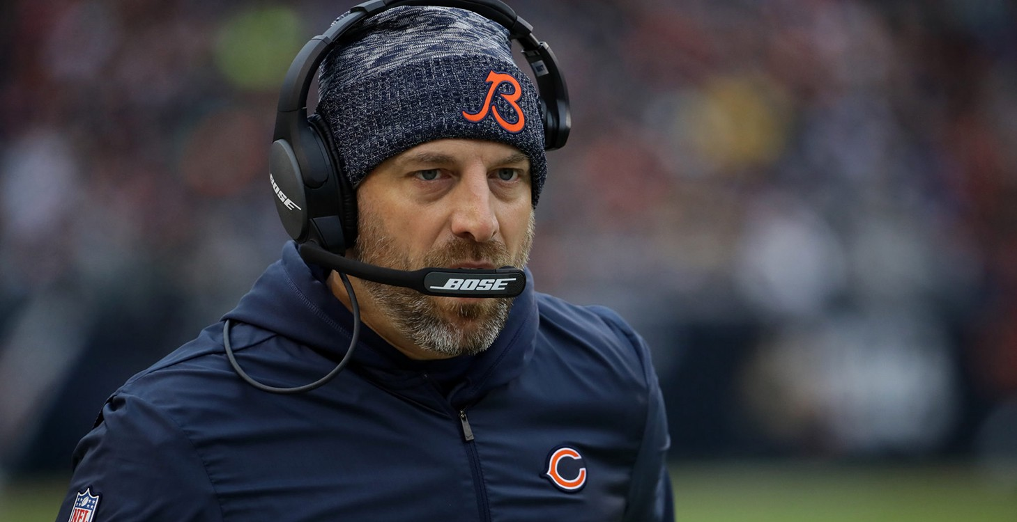 Head Coach Matt Nagy of the Chicago Bears on the sideline during a home game at Soldier Field on October 28, 2018.