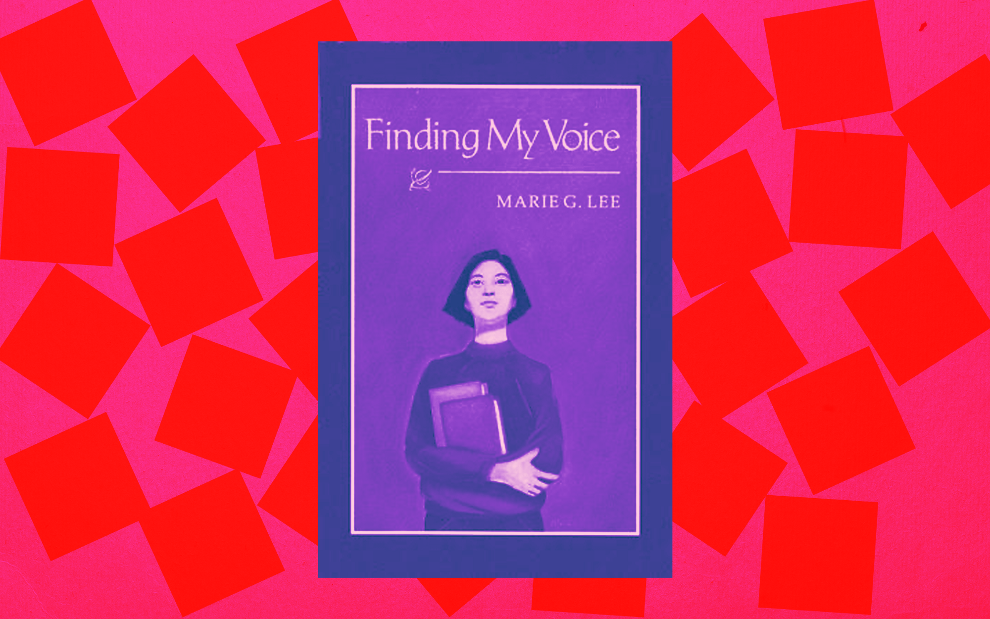 Finding My Voice book cover against a red and bright pink patterned background.