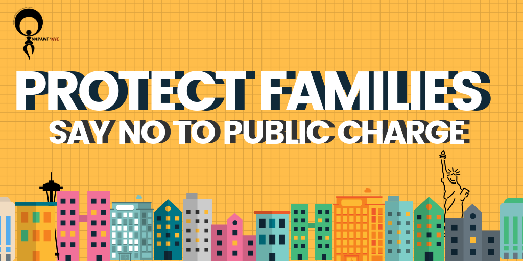 """Graphic reading """"Protect Families: Say No to Public Charge"""""""