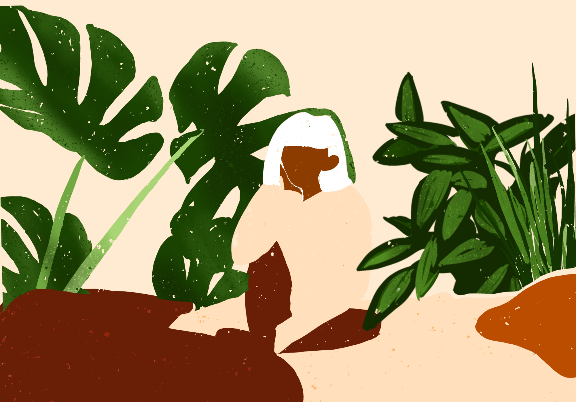 Illustration of girl sitting on a bed, surrounded by plants