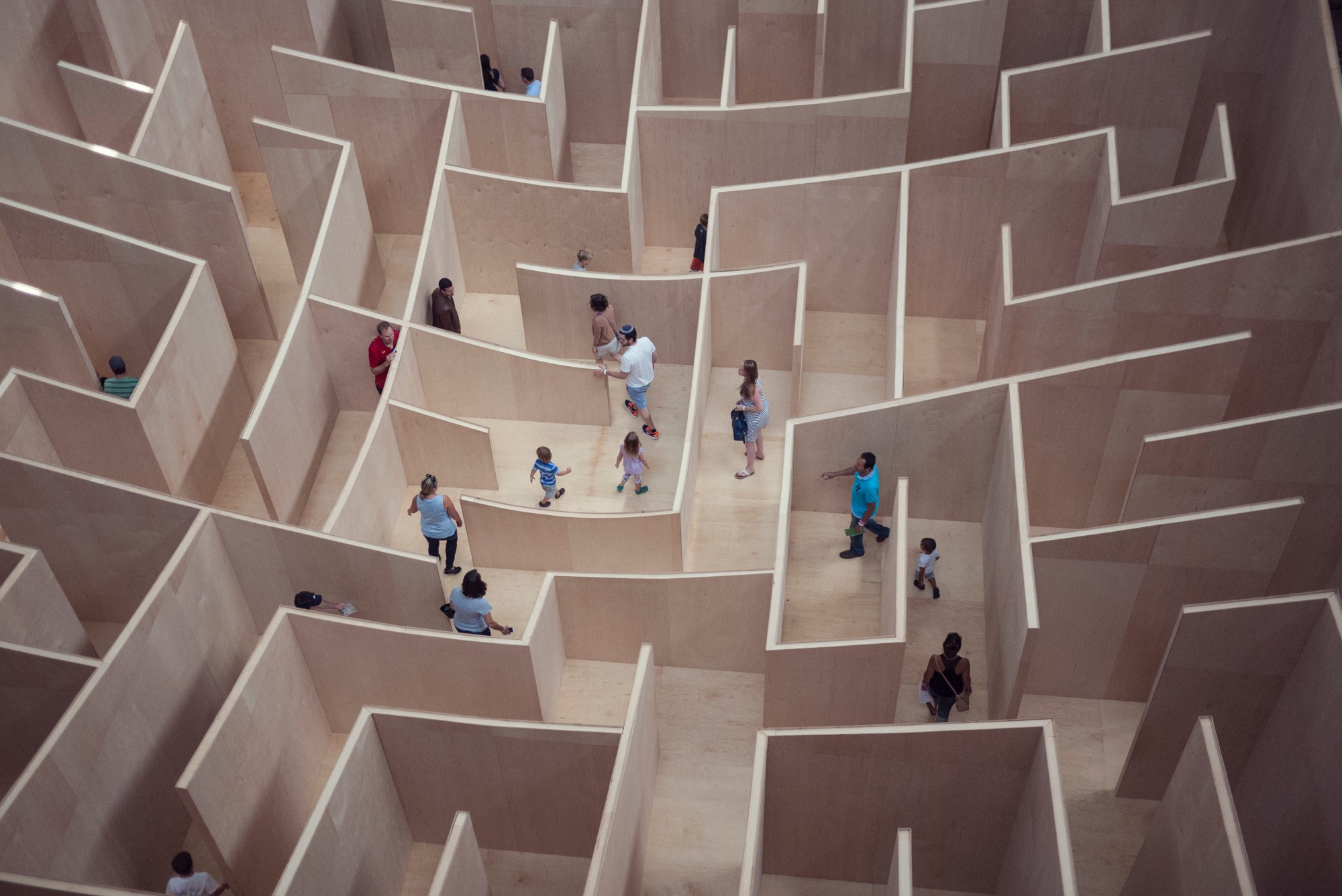 People going through a maze