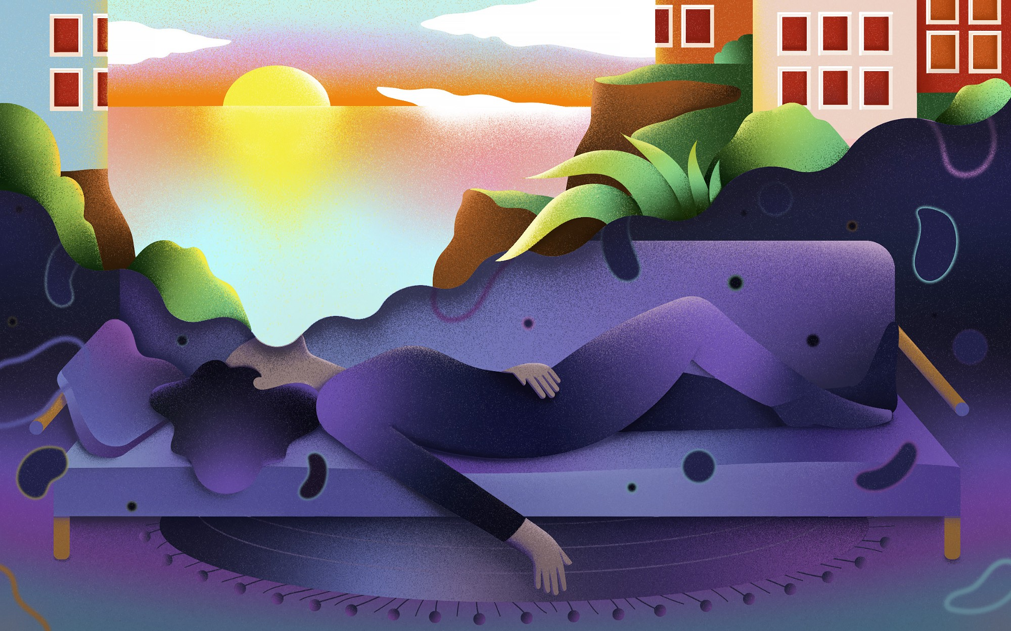 An illustration of a fatigued person, lying down on a bench and dreaming of a brighter day.