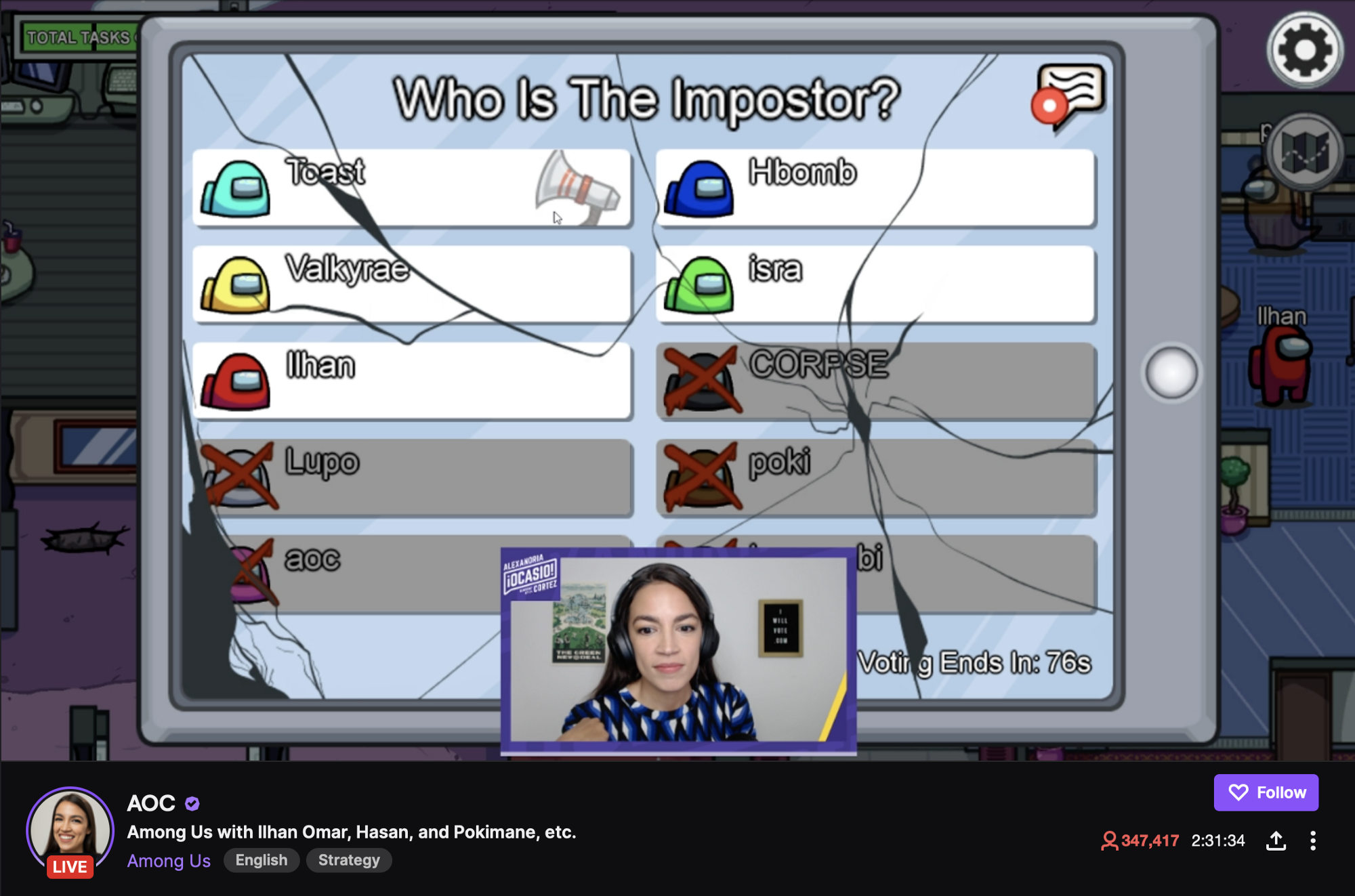 A screenshot of Alexandra Ocasio-Cortez's Twitch stream, where she is playing the online multiplayer game Among Us.