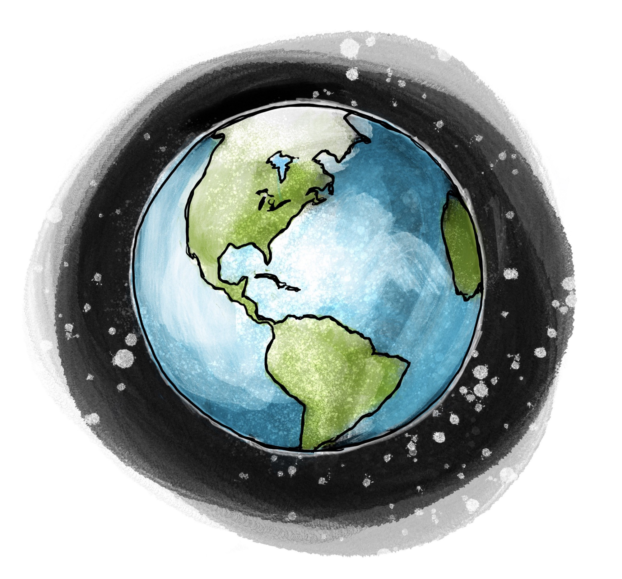 Watercolor illustration of Earth