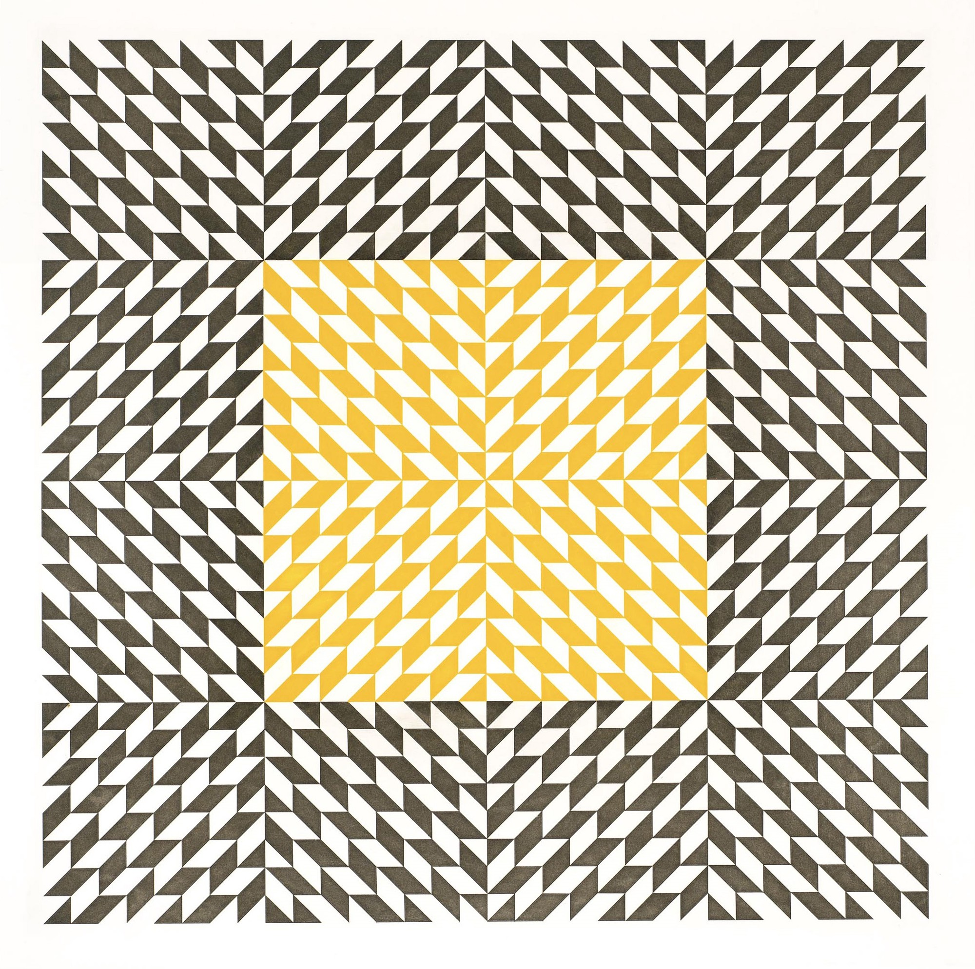 Transparent yellow square within a larger patterned square. The patterns have varying directions and create movement illusion