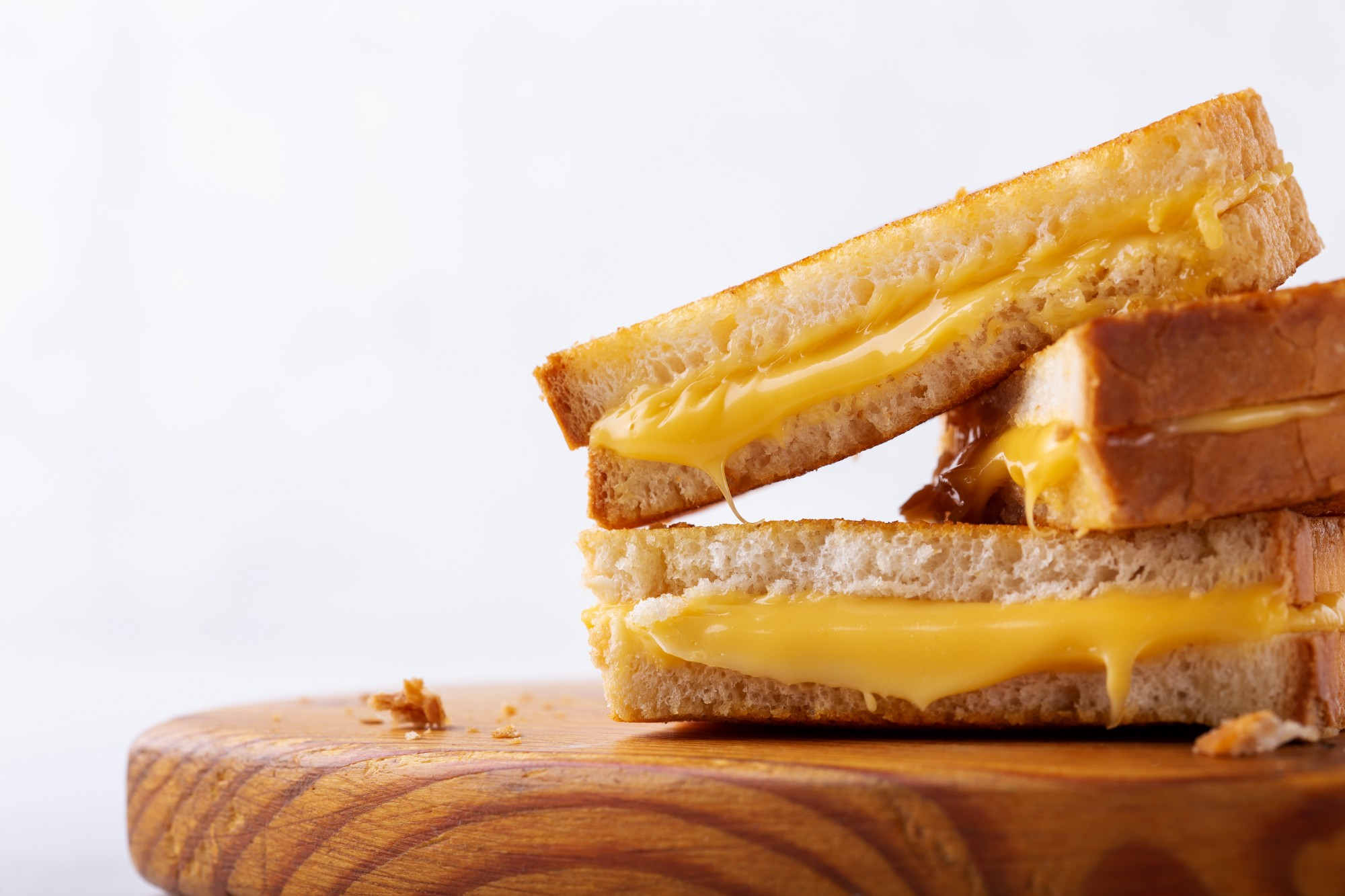 A close-up of a grilled cheese sandwich.