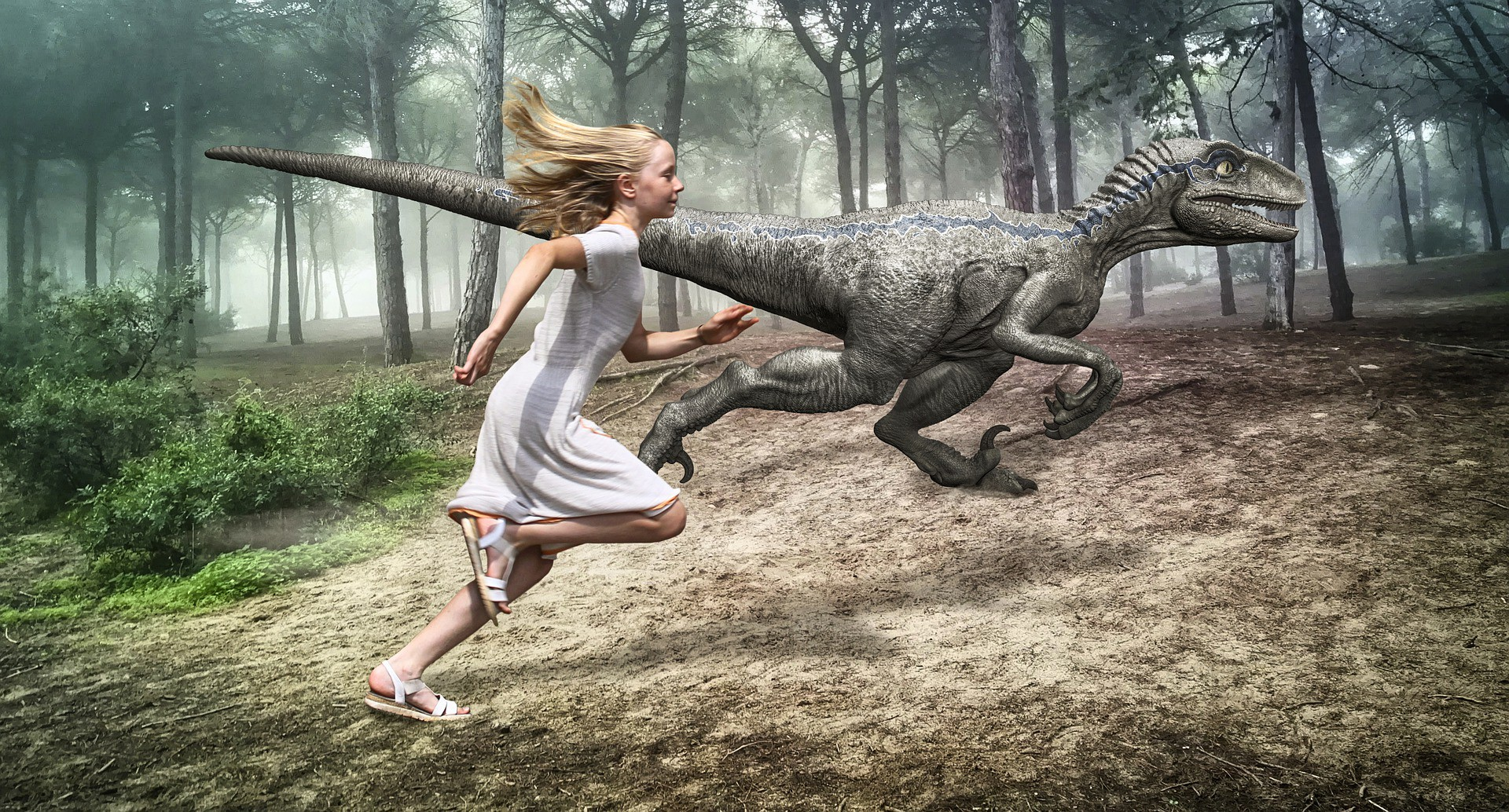 Girl in a white dress with flowing blond hair running alongside a dinosaur through a wooded area.