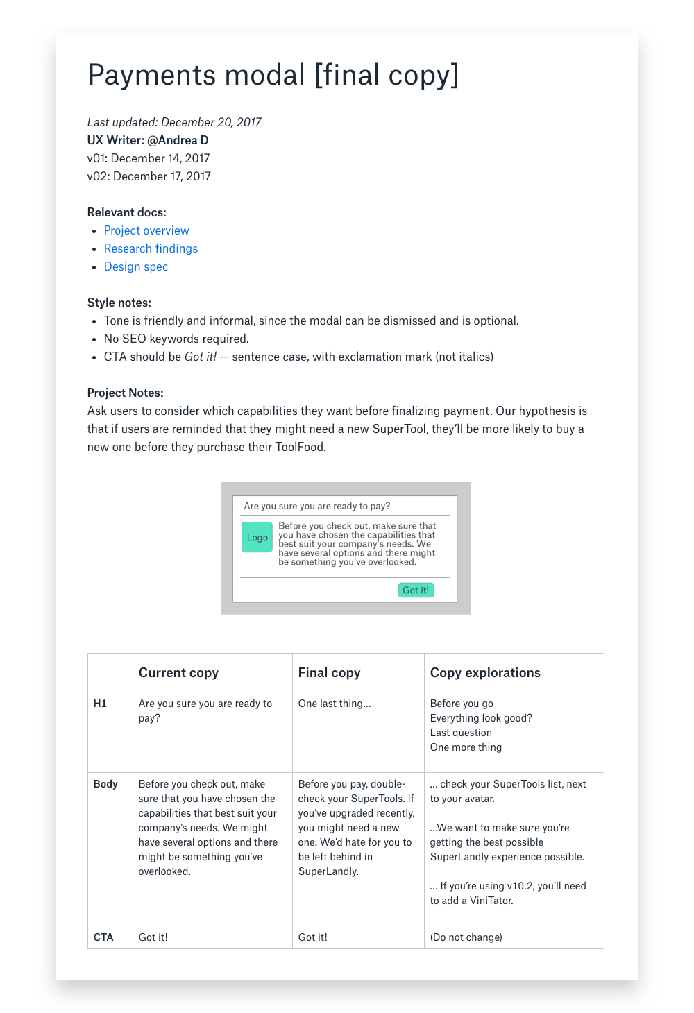 How To Improve Your Design Process With Copy Docs By Andrea Drugay Dropbox Design Medium