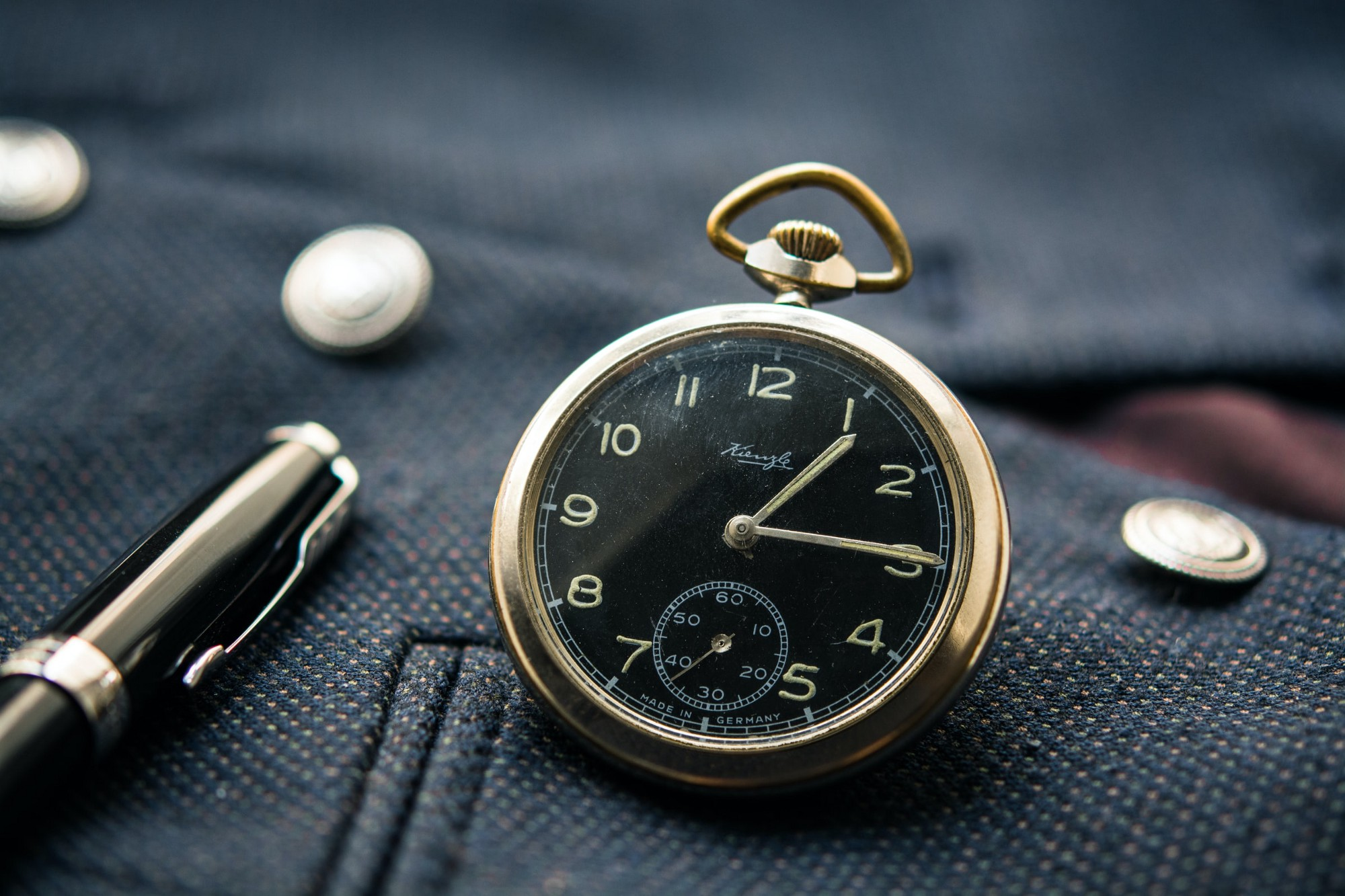 A black pocket watch.