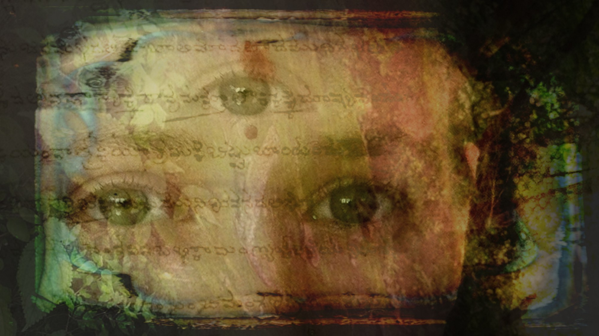 Composite image of a woman's eyes, with a third eye in the center of her forehead. Hindu writing can be faintly seen as an overlay.