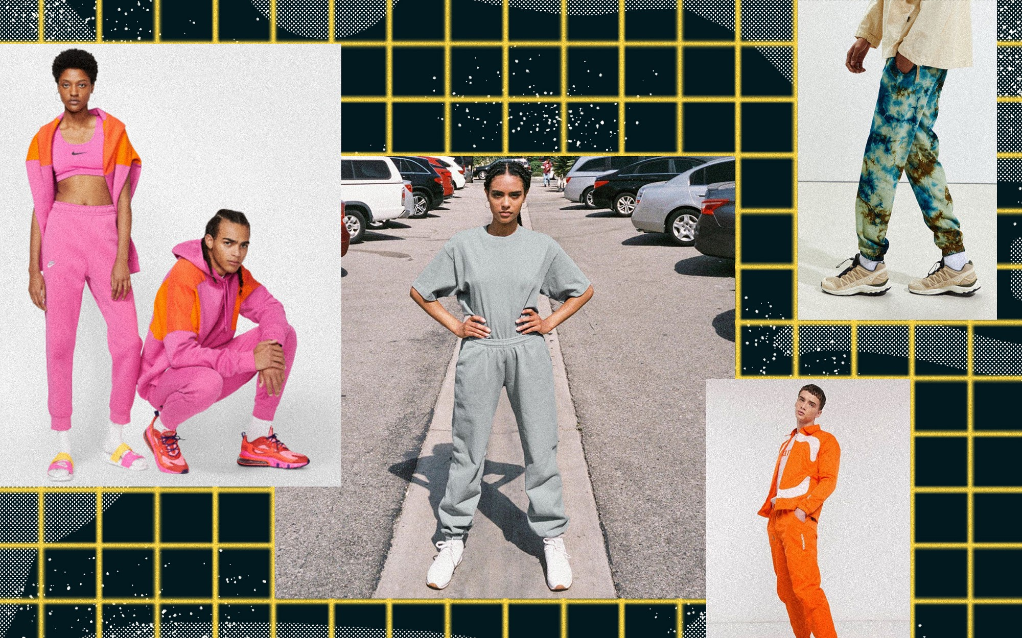 A collage of different sweatpants outfits from brands such as Nike, Asos, Urban Outfitters.