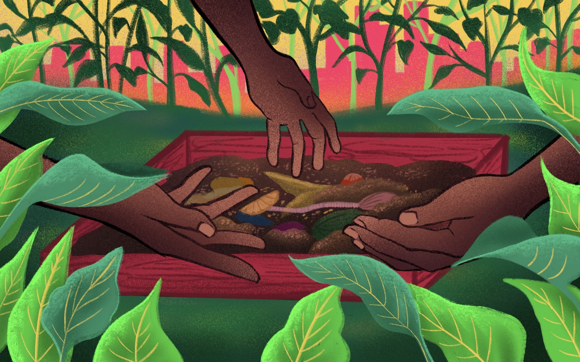 Illustration of three Black hands reaching towards soil.